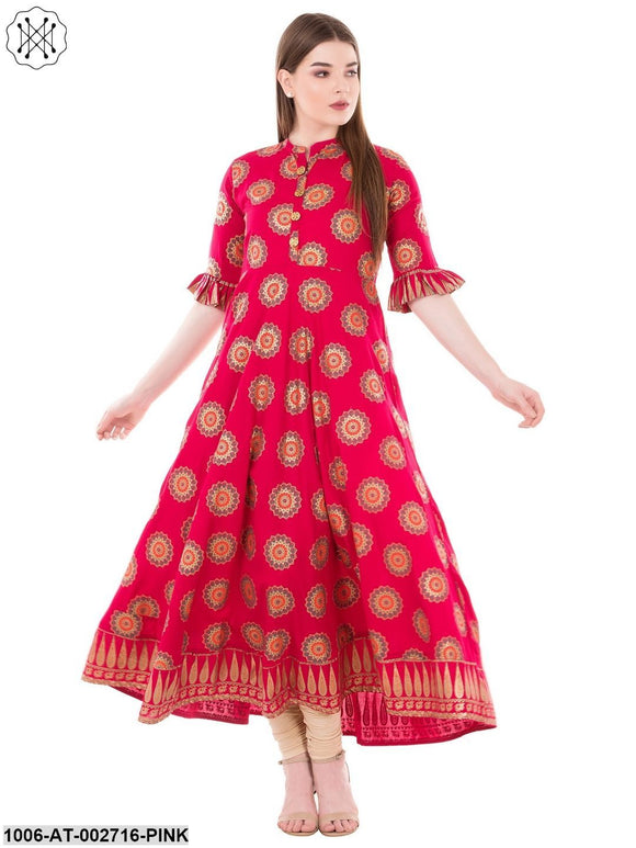 Rayon Gold Printed Flared Kurta