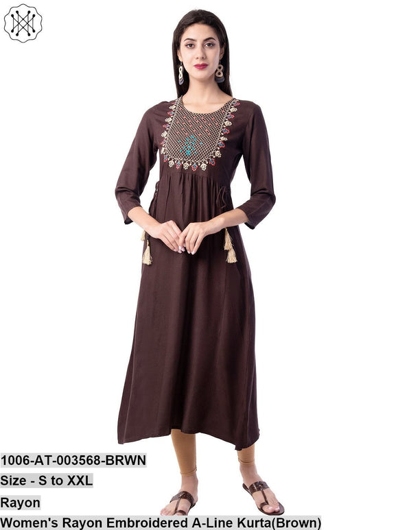 Women's Rayon Embroidered A-Line Kurta(Brown)