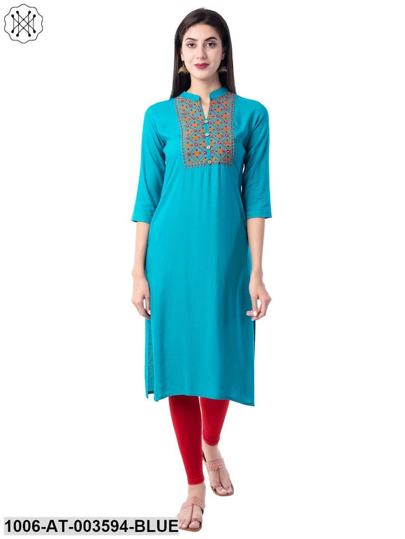 Rayon Embroidered Straight Kurta