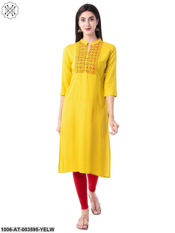Women's Rayon Embroidered Straight Kurta