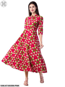 Women's Cotton Printed A-Line Kurta