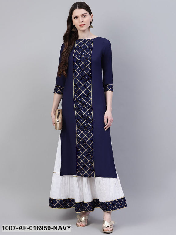 Printed Rayon Straight Kurta Skirt Set (Dark Blue)