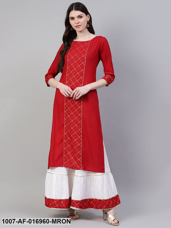 Printed Rayon Straight Kurta Skirt Set (Maroon)