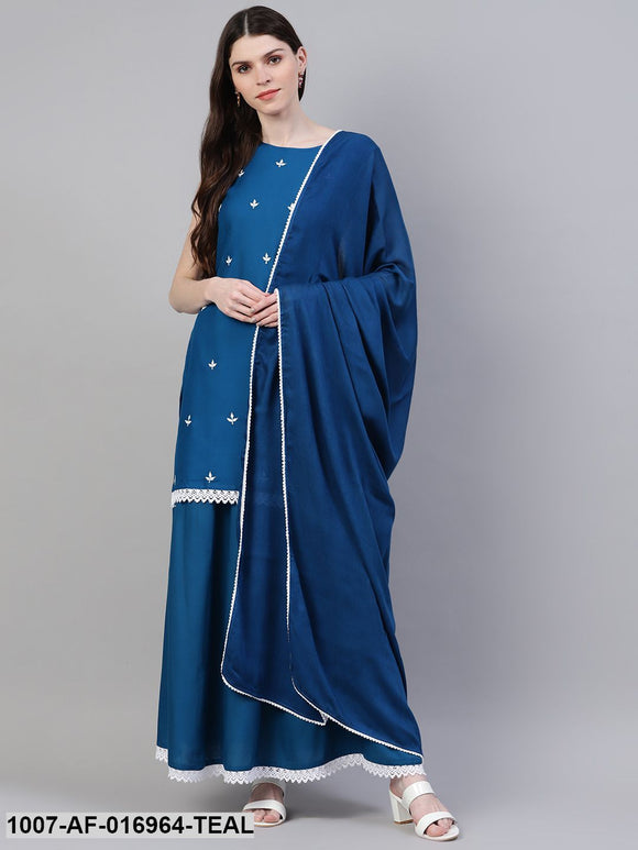 Embroidered Rayon Straight Kurta Skirt Dupatta Set (Teal Blue)