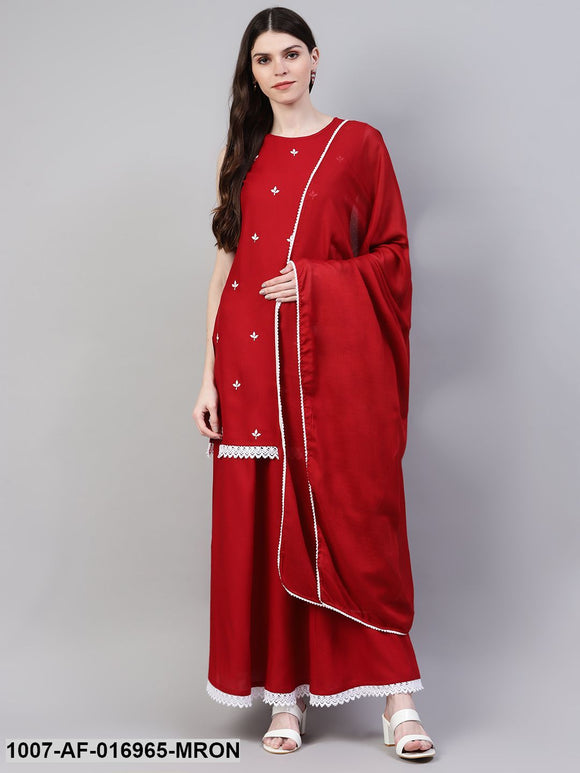 Embroidered Rayon Straight Kurta Skirt Dupatta Set (Maroon)