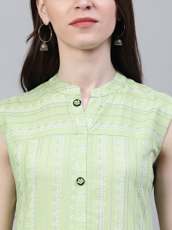 Striped Rayon Straight Kurta (Light Green)