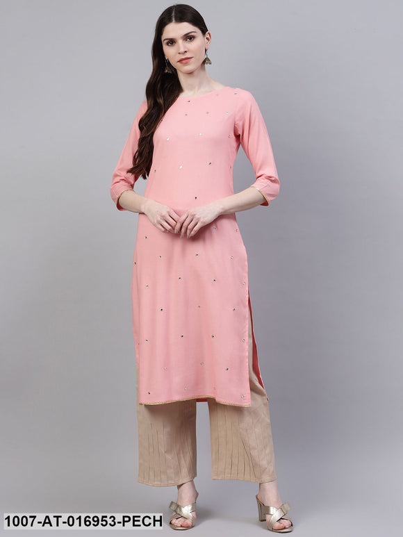 Embroidered Rayon Straight Kurta (Peach)