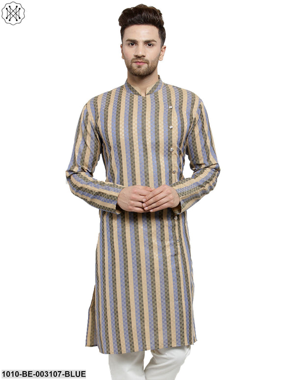 Men's Checkers Striped Khari Kurta