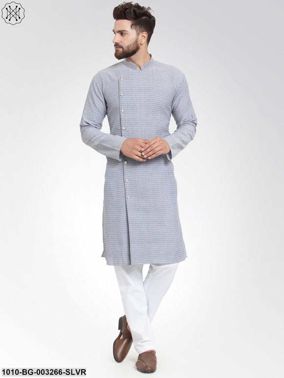 Men's Jacquard Cotton Kurta Pyjama Set