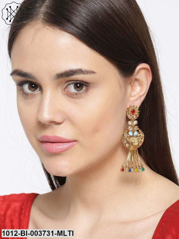 Priyaasi Multicoloured Gold-Plated Stone-Studded Handcrafted Drop Earrings