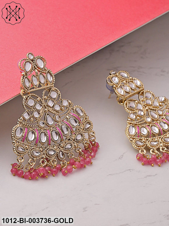 Priyaasi Pink Gold-Plated Kundan-Studded & Beaded Handcrafted Classic Drop Earrings