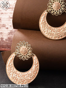 Priyaasi Peach-Coloured Gold-Plated Hand-Painted Crescent Shaped Chandbalis
