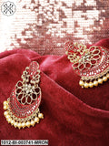 Priyaasi Maroon Gold-Plated Hand-Painted Beaded Crescent Shaped Chandbalis
