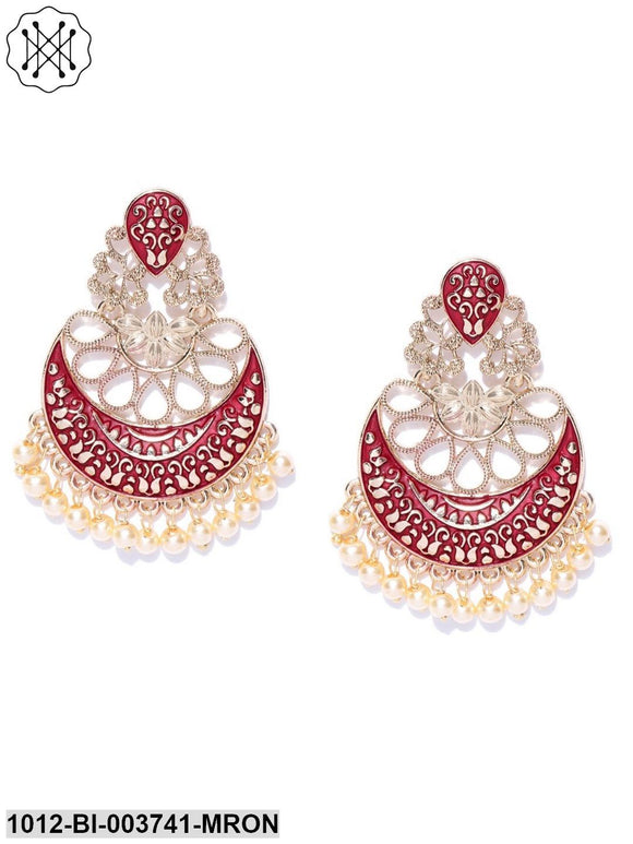 Designer Gold Plated Maroon Colour Chandbalis Drop Earrings With Pearls