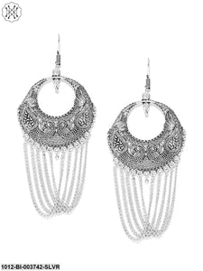 Prita Silver-Plated Peacock Shaped Handcrafted Drop Earrings