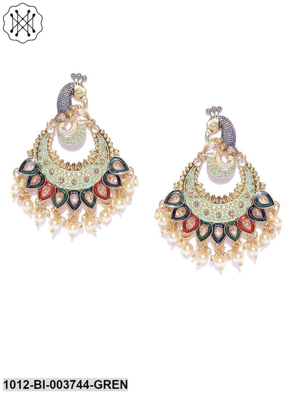 Gold Plated Green Peacock Inspired Kundan Party Wear Earrings