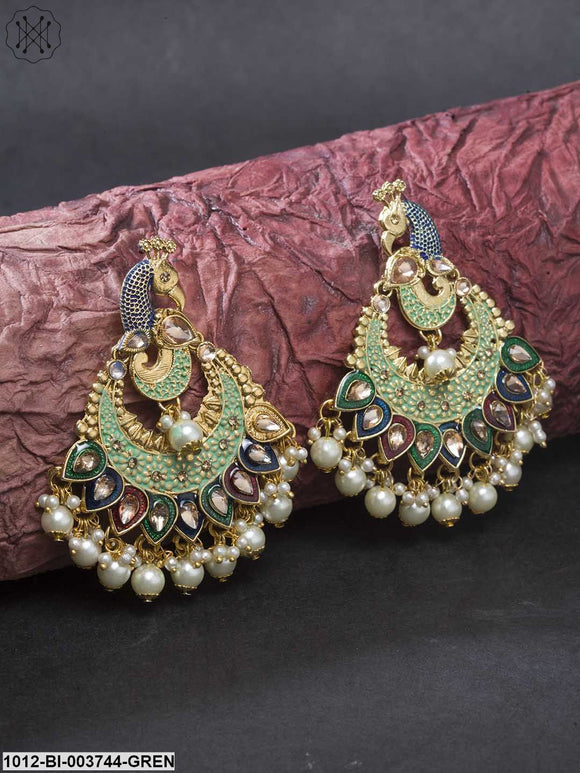 Priyaasi Green & Red Gold-Plated Kundan-Studded Meenakari Peacock Shaped Chandbalis