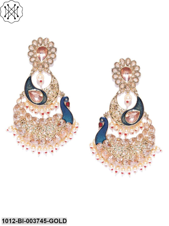Priyaasi Gold Plated Kundan Studded Peacock Inspired Blue Party Wear Earrings