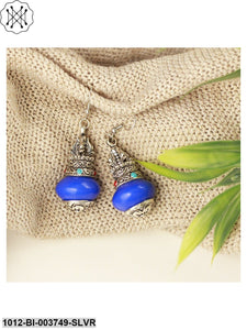 Prita Blue & Oxidised Silver-Toned Handcrafted Contemporary Drop Earrings