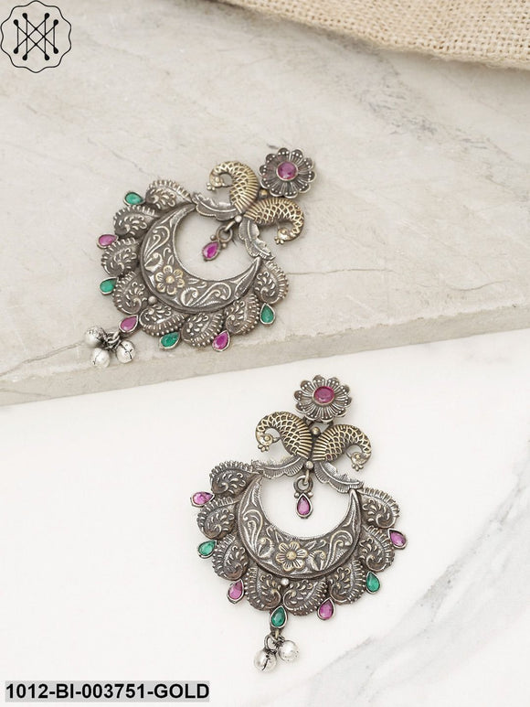 Priyaasi Charcoal Grey & Green Antique Gold-Plated Peacock Shaped Drop Earrings