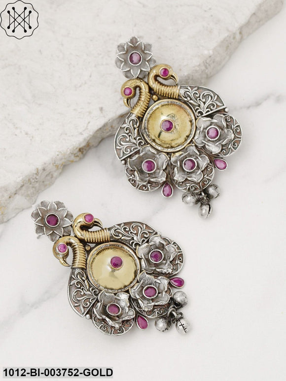 Priyaasi Oxidised Silver-Toned & Pink Antique Gold-Plated Peacock Shaped Drop Earrings