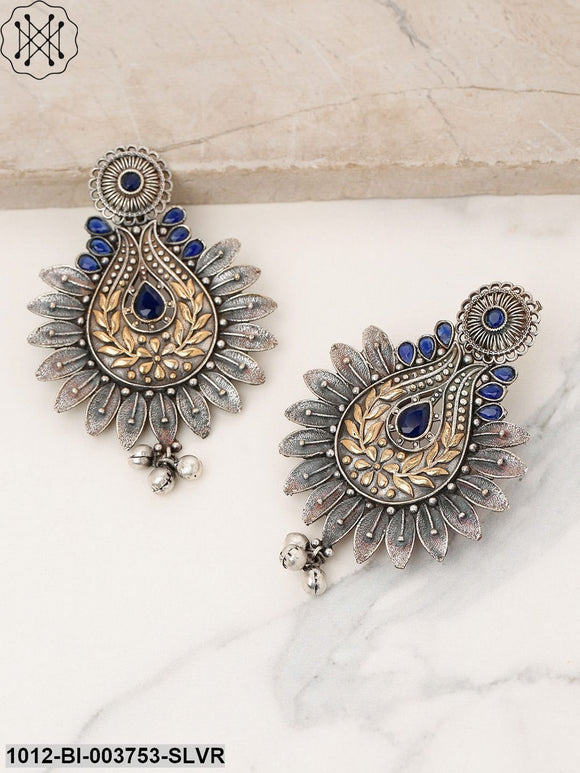Priyaasi Antique Gold-Toned & Navy Blue Oxidised Silver-Plated Classic Drop Earrings