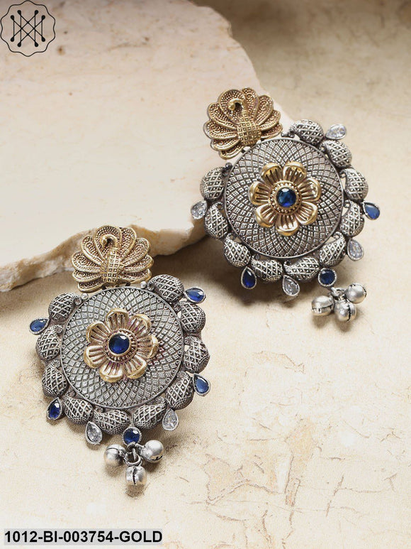Priyaasi Blue & Antique Gold-Toned Oxidised Silver-Plated Peacock Shaped Drop Earrings