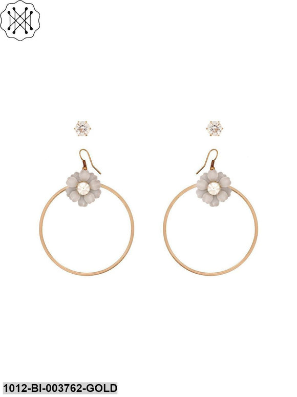 Prita Gold Plated White Flower Shape Fancy Party Wear Hoop Earrings & Solitaire Stud