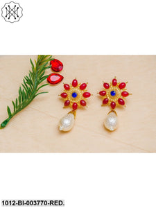 Priyaasi Maroon Gold-Plated Handcrafted Floral Drop Earrings