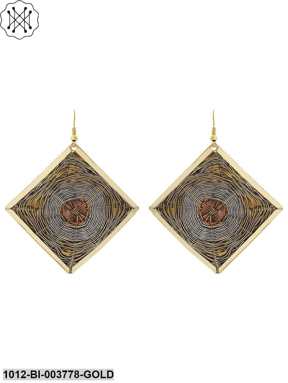 Prita Classic Square Brass Earrings