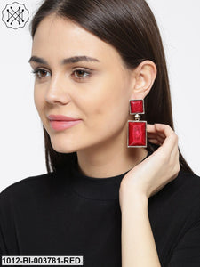 Prita Red & Gold-Toned Handcrafted Geometric Drop Earrings