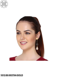 Prita Crystal Collection Fancy Party Wear Grey Colour Dangle Earrings