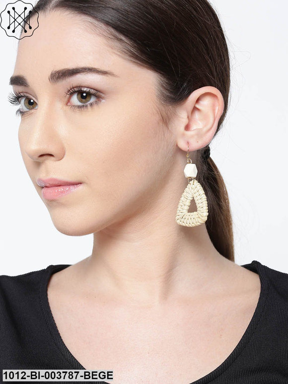 Prita Beige Triangular Handcrafted Drop Earrings