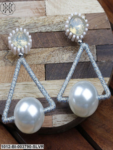 Prita Silver-Toned & Off-White Handcrafted Geometric Drop Earrings