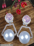 Prita Pink & Off-White Spherical Handcrafted Drop Earrings