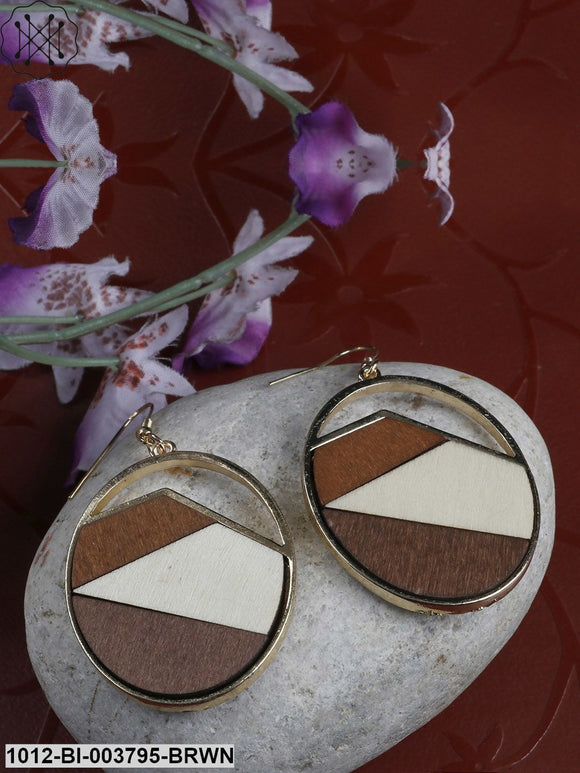 Prita Brown & Cream-Coloured Handcrafted Oval Drop Earrings