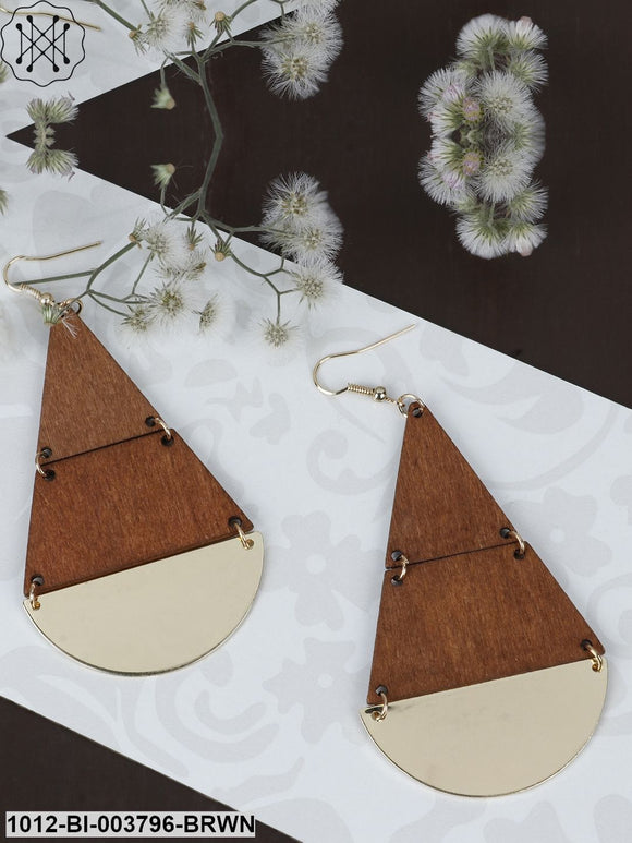 Prita Brown Gold-Plated Handcrafted Geometric Drop Earrings