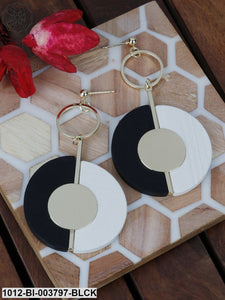Prita Black & Off-White Gold-Plated Handcrafted Circular Drop Earrings