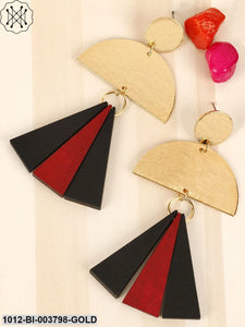 Prita Black & Maroon Gold-Plated Handcrafted Geometric Drop Earrings