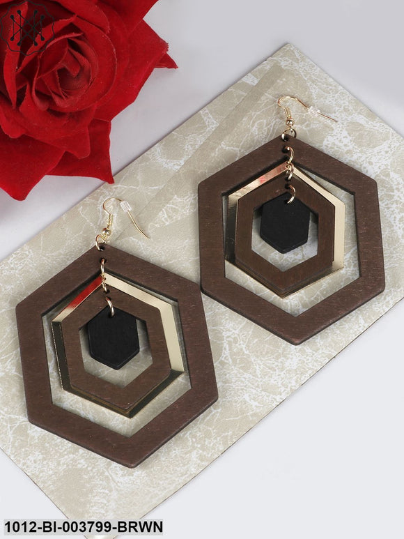 Prita Brown & Gold-Toned Handcrafted Wooden Geometric Drop Earrings