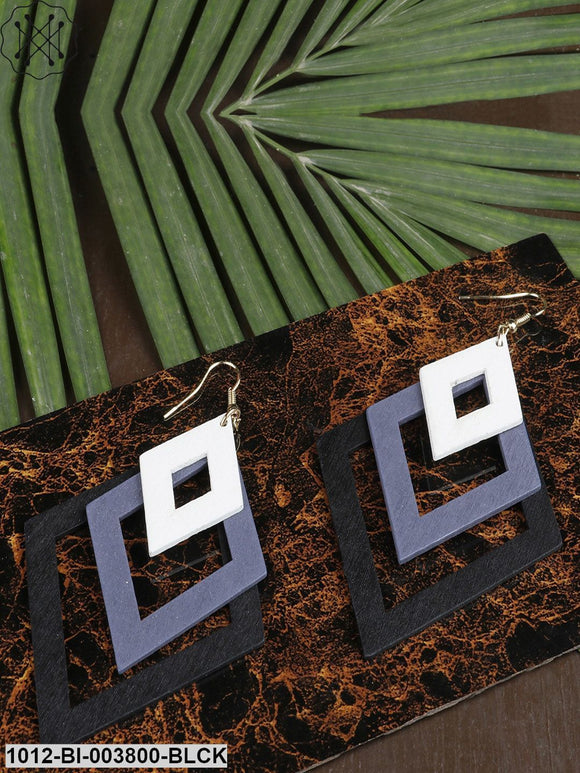 Prita Black & Blue Handcrafted Geometric Drop Earrings