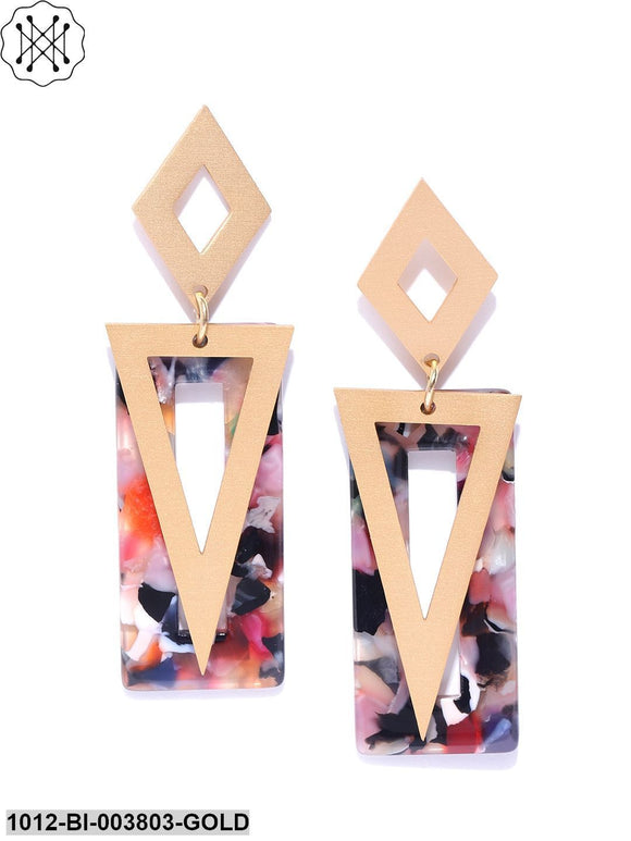 Prita Pink & Black Gold-Plated Geometric Handcrafted Drop Earrings