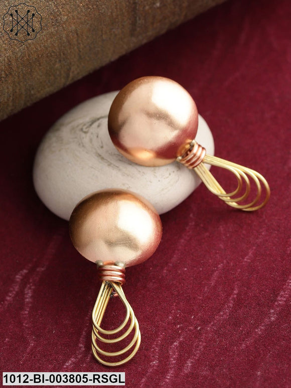 Stylish Gold And Copper Round And Tear Drop Designed Push  Earring