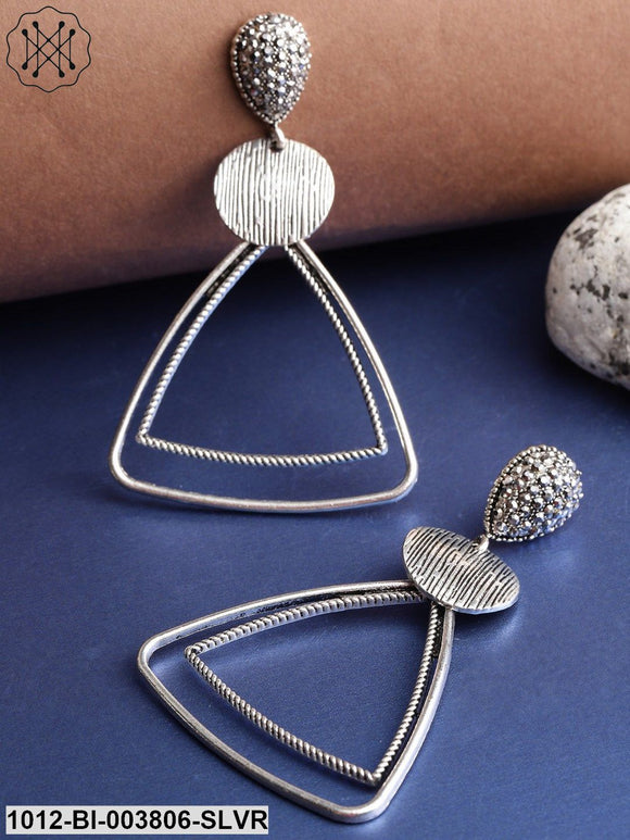 Prita Silver-Plated Stone-Studded Geometric Drop Earrings