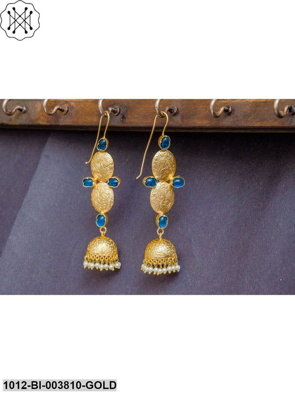 Priyaasi Blue Gold-Plated Handcrafted Dome Shaped Jhumkas