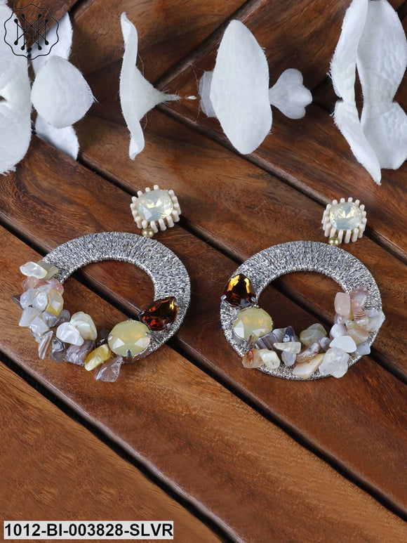 Prita Gold-Toned & Brown Stone-Studded & Beaded Circular Handcrafted Drop Earrings
