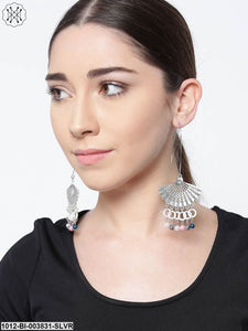 Prita White German SilverContemporary Drop Earrings With Silver Plating