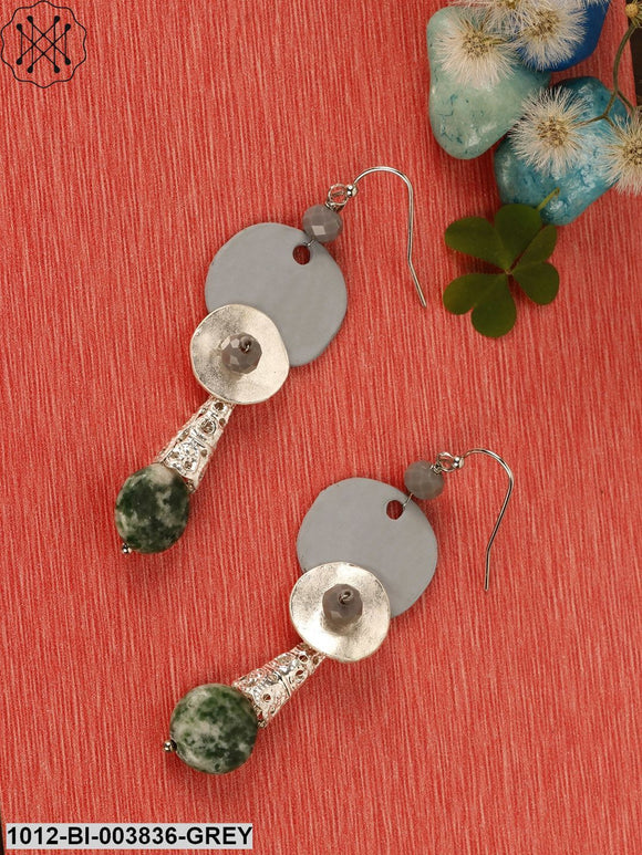 Prita Grey Silver-Plated Handcrafted Contemporary Drop Earrings