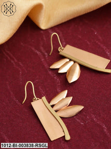 Prita Rose Gold-Toned & Gold-Toned Copper-Plated Handcrafted Quirky Drop Earrings