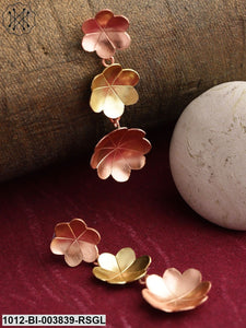 Prita Rose Gold-Toned & Gold-Toned Copper-Plated Handcrafted Floral Drop Earrings